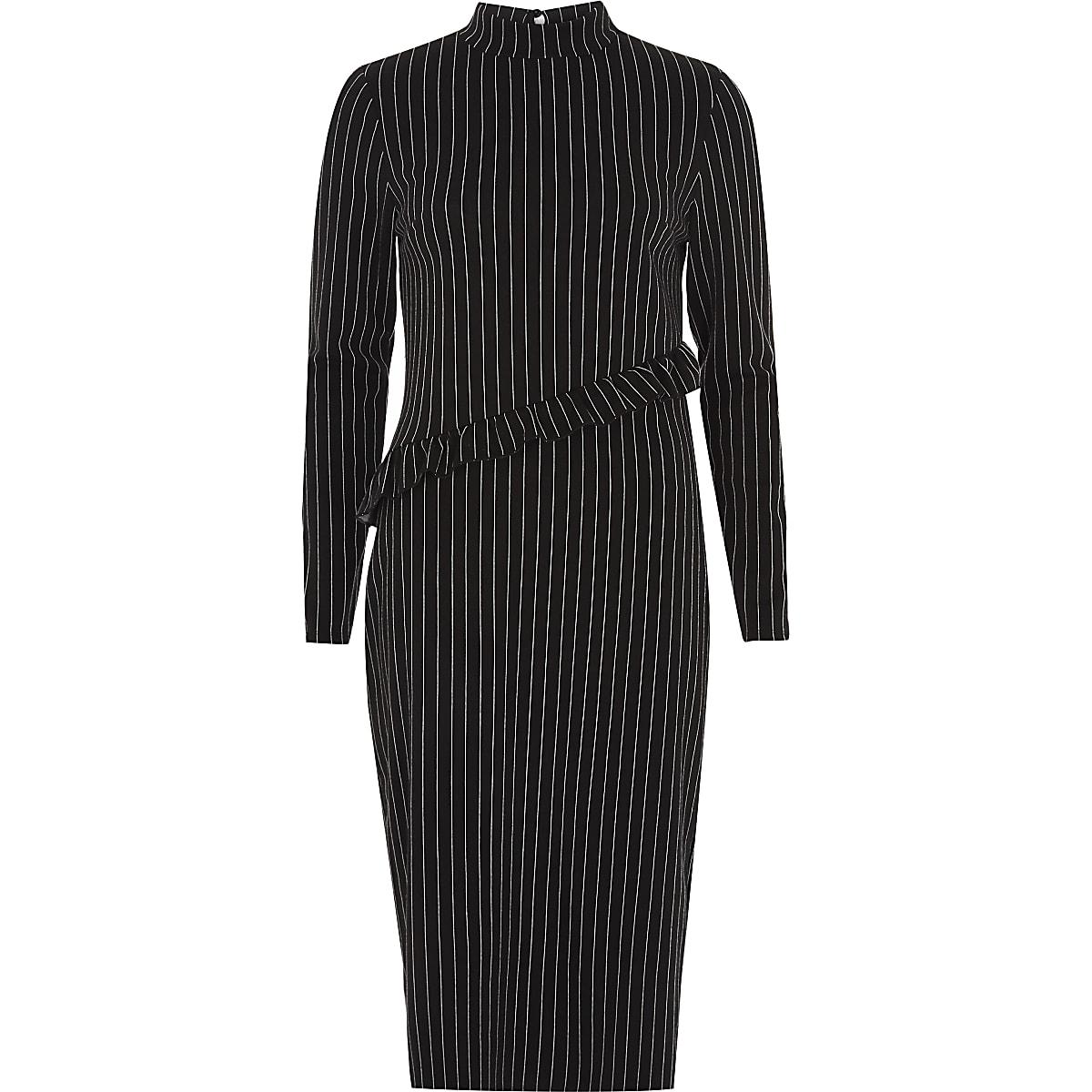 Zwarte hoogsluitende midi-jurk met krijtstreep en ruches