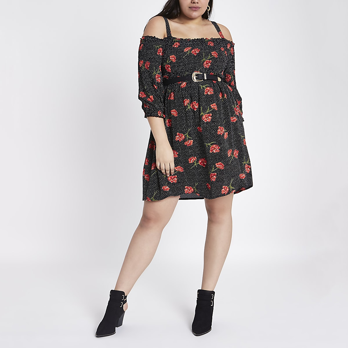Plus black floral spot print bardot dress