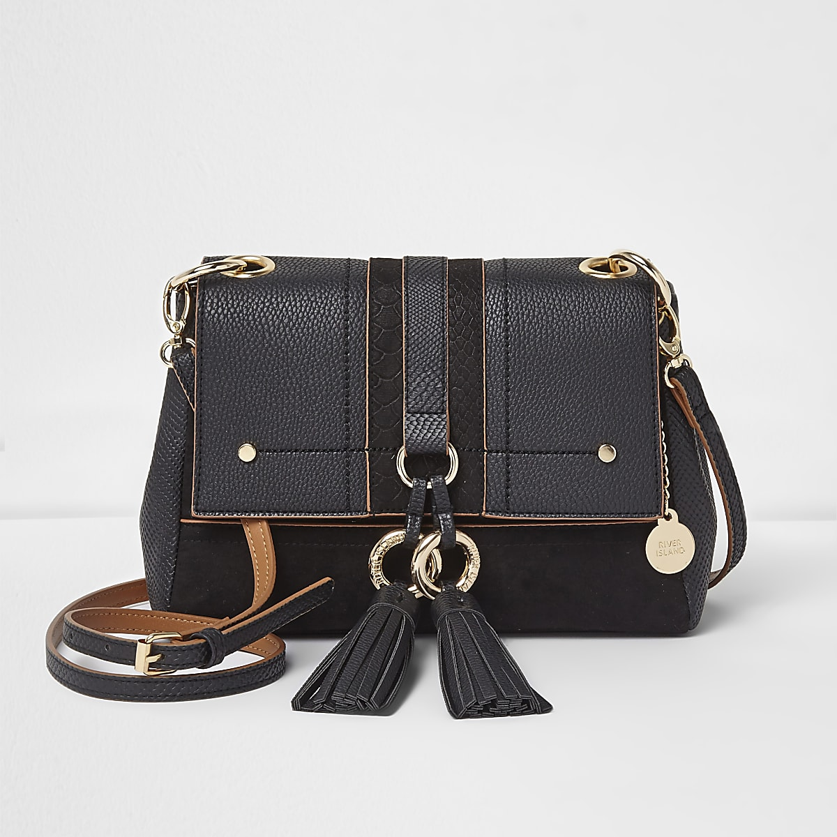 Black double ring tassel crossbody bag