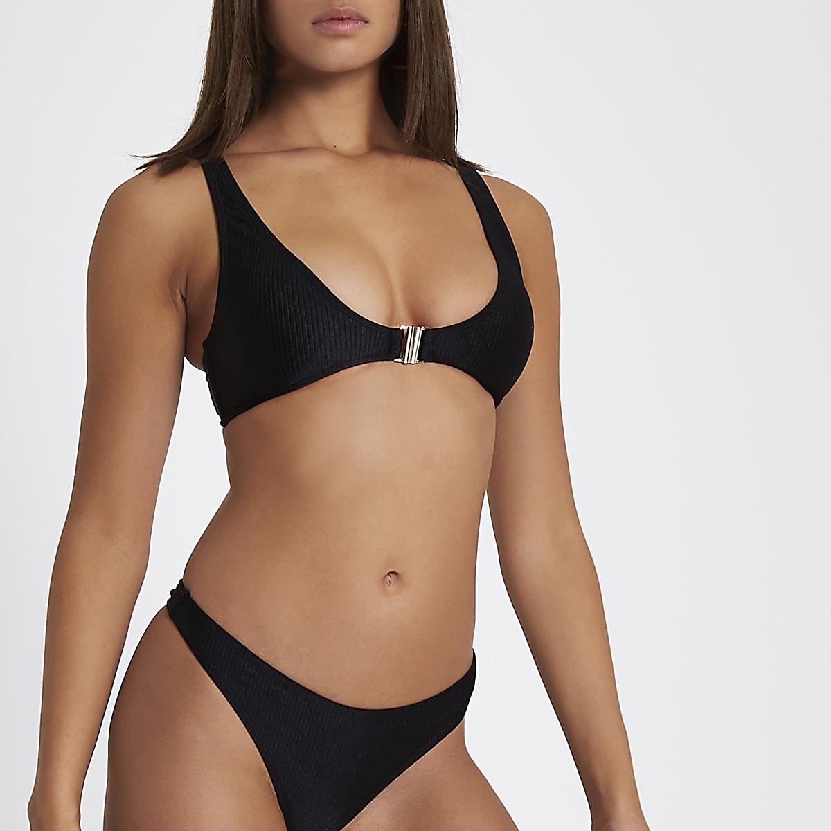 bead0315bf11a Black ribbed clip front triangle bikini top - Bikini Tops - Bikinis -  Swimwear & Beachwear - women