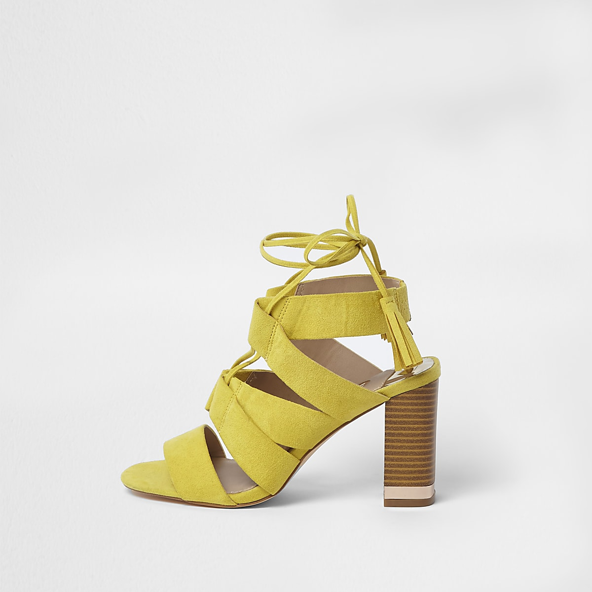 36dd7ebfc6b5 Yellow tie up block heel sandals - Sandals - Shoes   Boots - women