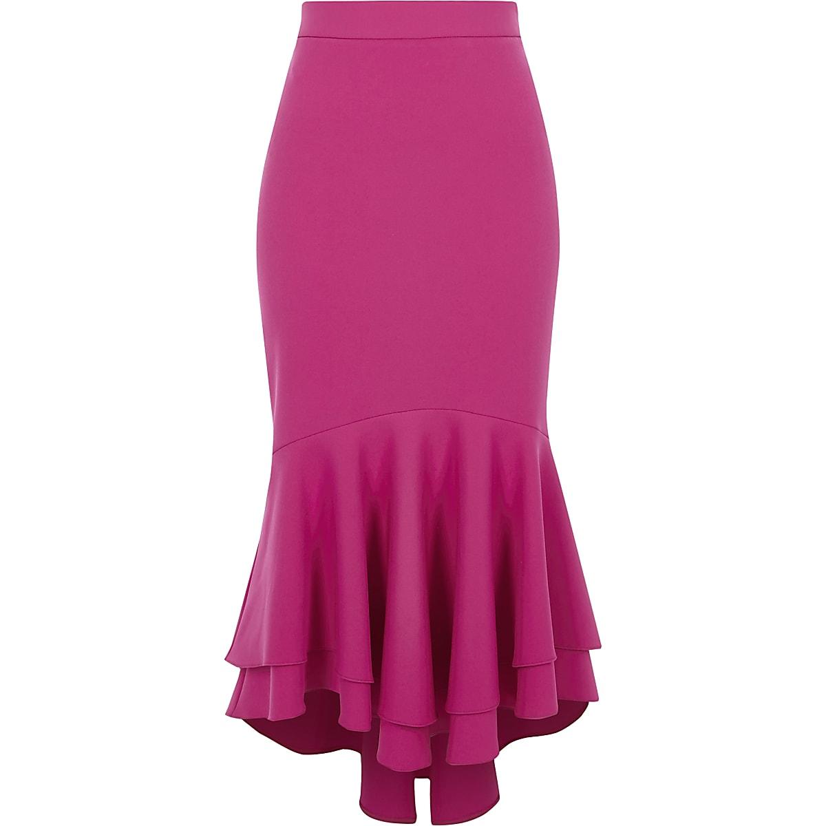 3f1ece523cc3 Pink tiered frill fishtail pencil skirt - Midi Skirts - Skirts - women