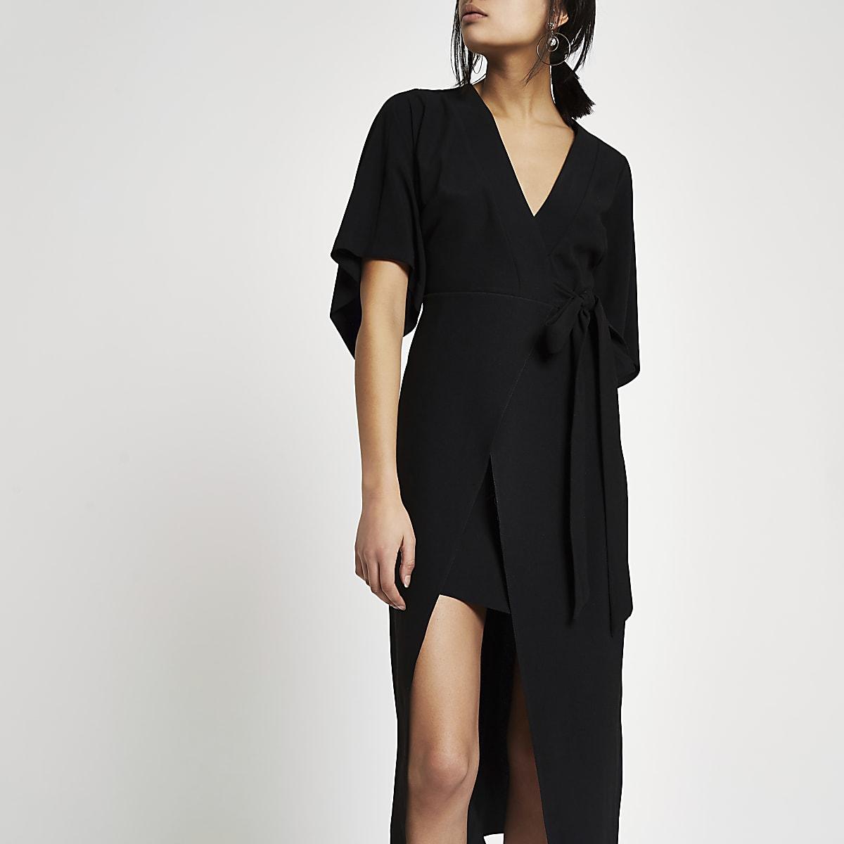 144c798eb01a Black kimono sleeve wrap midi dress - Swing Dresses - Dresses - women