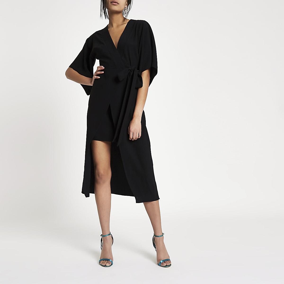 b6ed89188b2 Black kimono sleeve wrap midi dress - Swing Dresses - Dresses - women