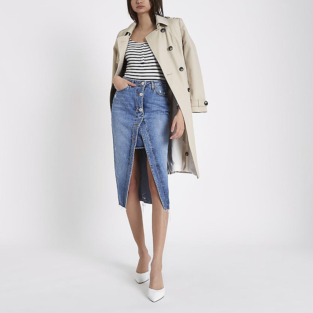Mid blue open front denim pencil skirt