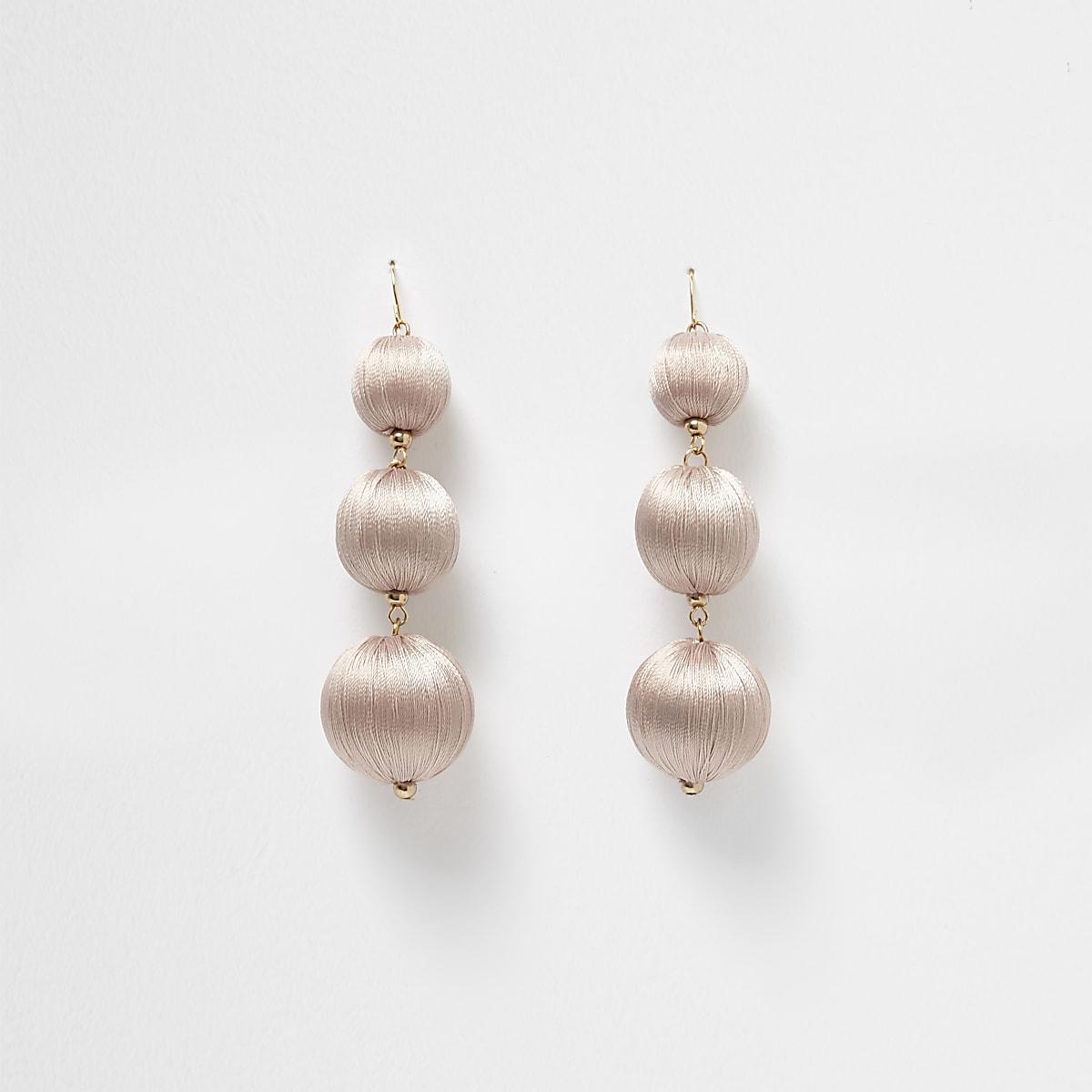 Nude triple ball drop earrings