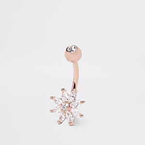 Rose gold colour flower belly bar