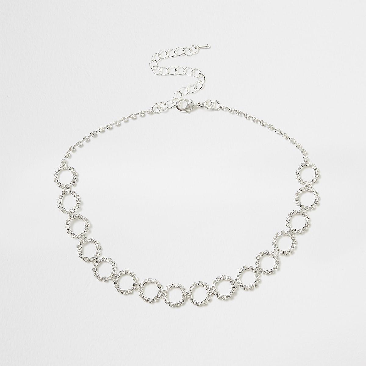 Silver diamante encrusted circle chain choker