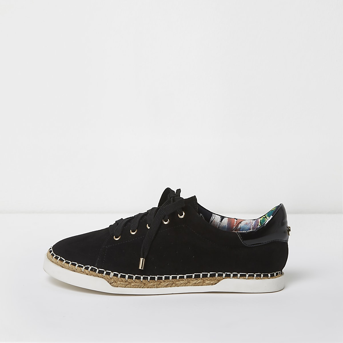 Black lace-up espadrille trainers