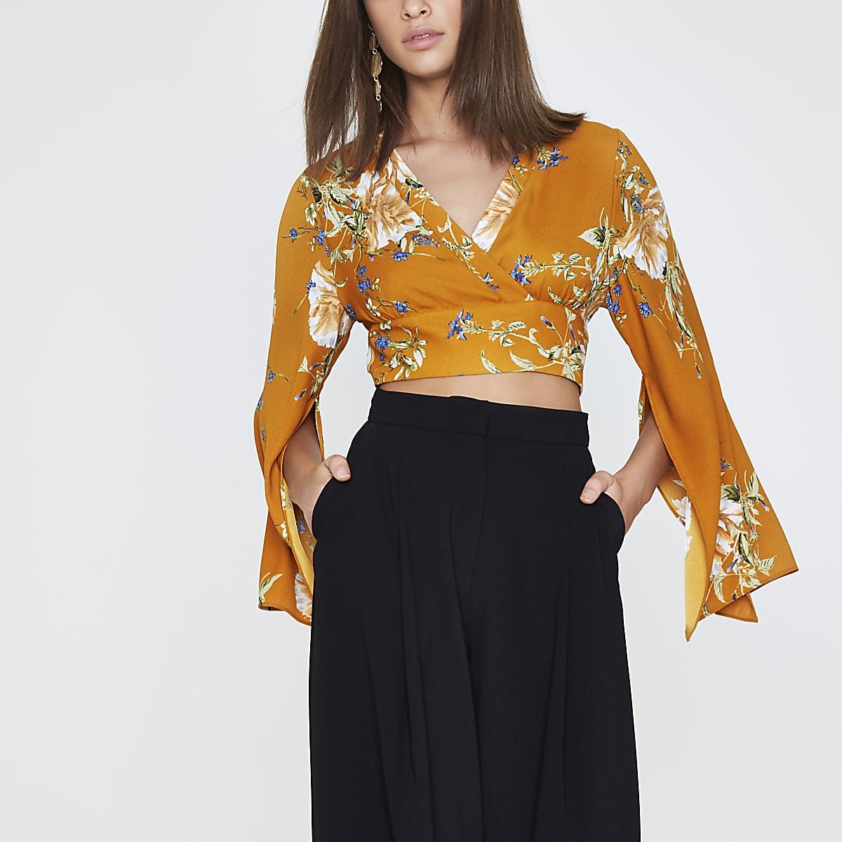 03587400f0dd8 Orange floral wrap kimono sleeve crop top - Crop Tops   Bralets - Tops -  women