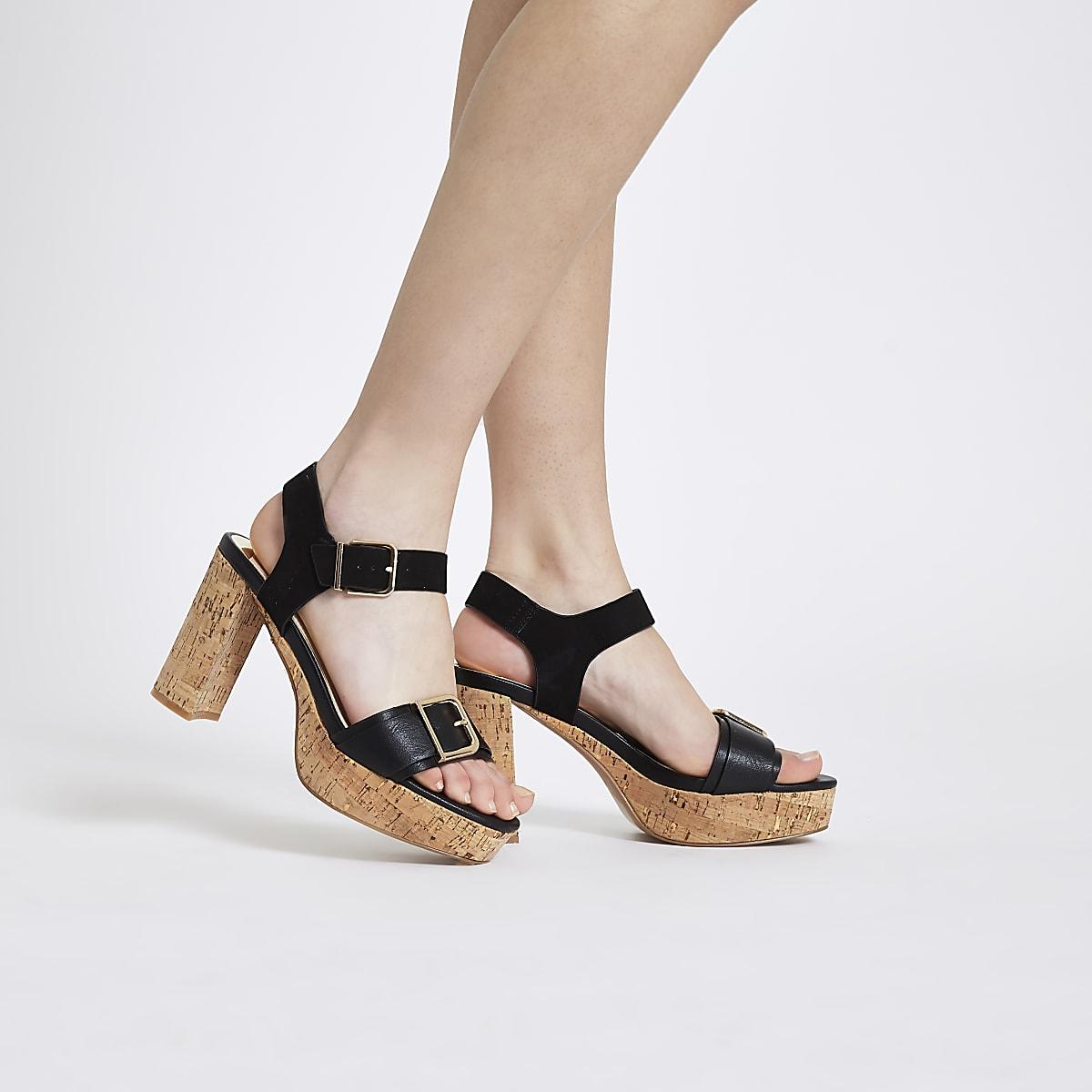 0436b64d58d Black double buckle strap cork heel sandals - Sandals - Shoes ...