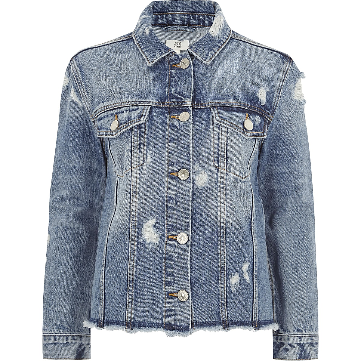 9438b24b3eb Petite mid blue oversized denim jacket - Jackets - Coats & Jackets ...