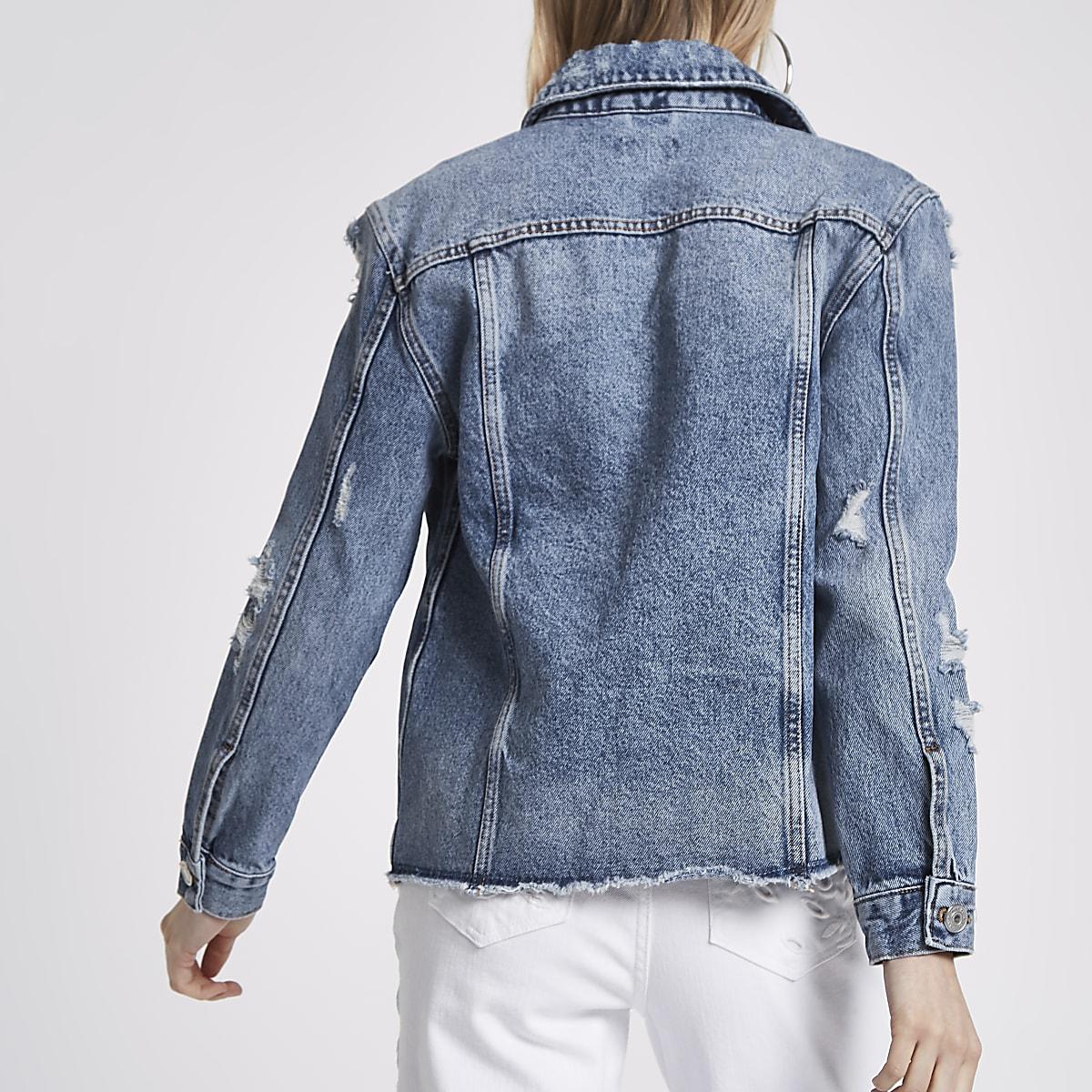 e175cdcf5b Petite mid blue oversized denim jacket - Jackets - Coats   Jackets ...