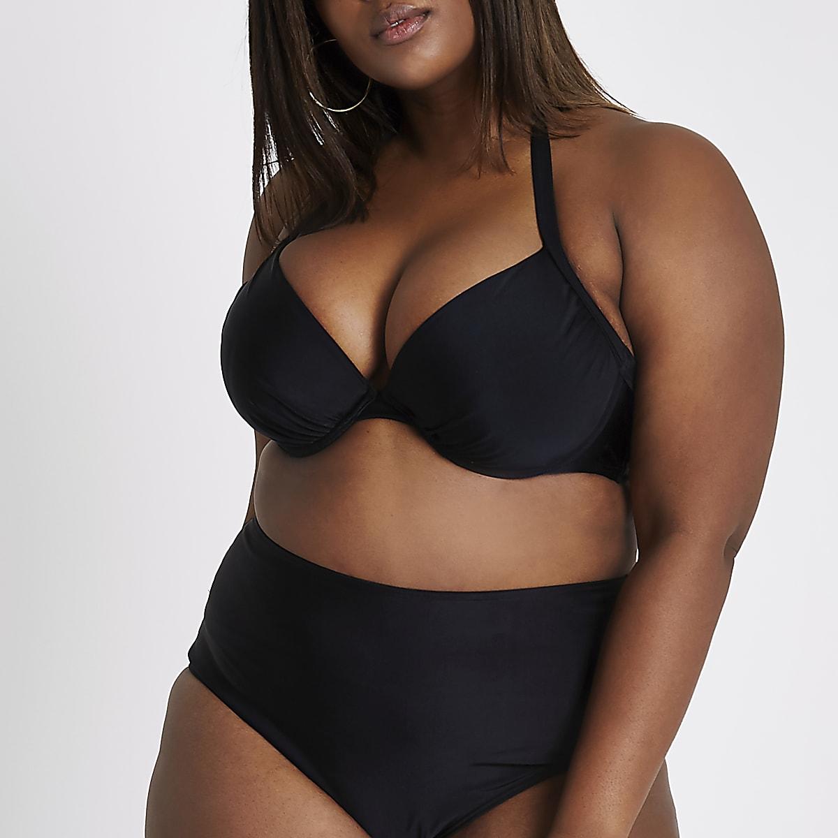 Plus black ruched halter neck bikini top
