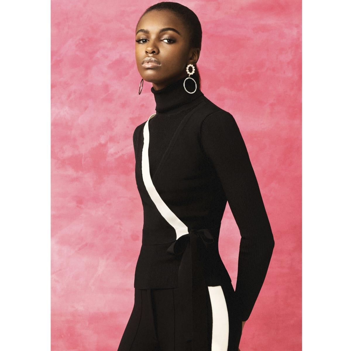 Black RI studio wrap layer roll neck top