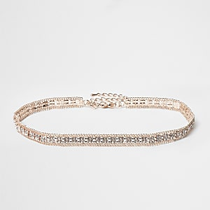 Rose gold color rhinestone choker
