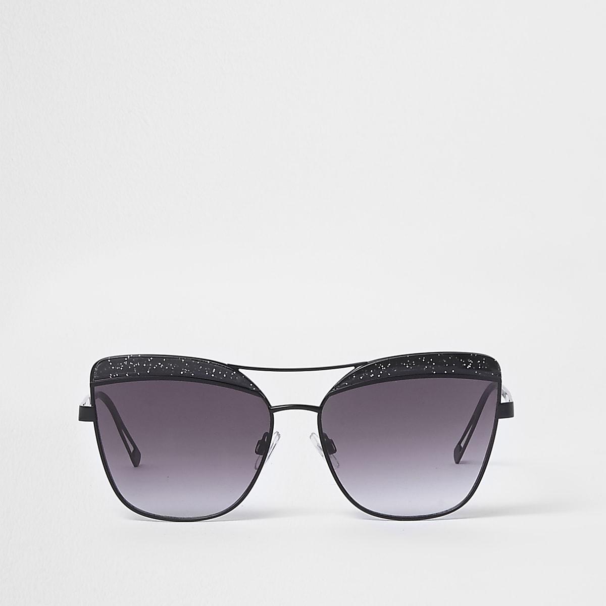 Schwarze Cateye-Sonnenbrille mit Glitzer