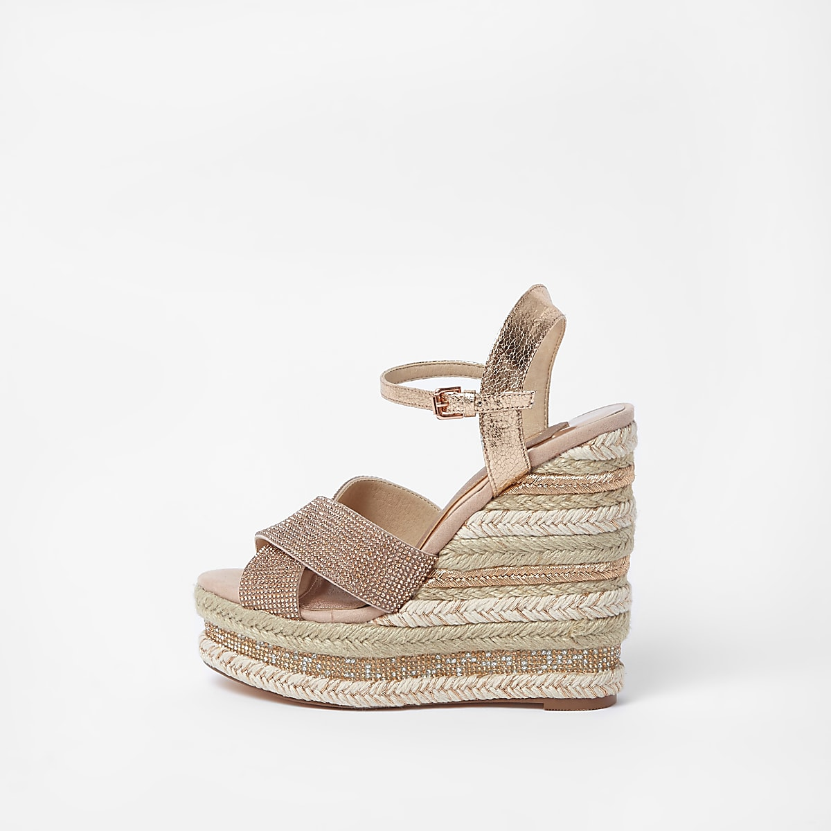 Wedge Sandals Metallic Diamante Light Pink gy7fYb6v