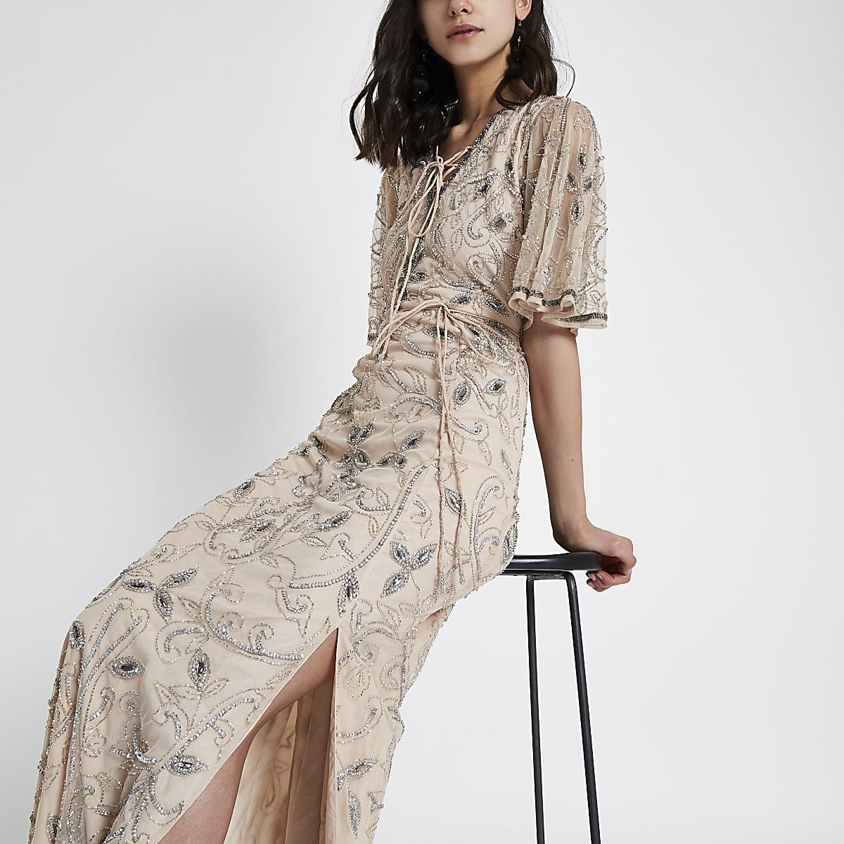 Beige flute sleeve sequin maxi dress