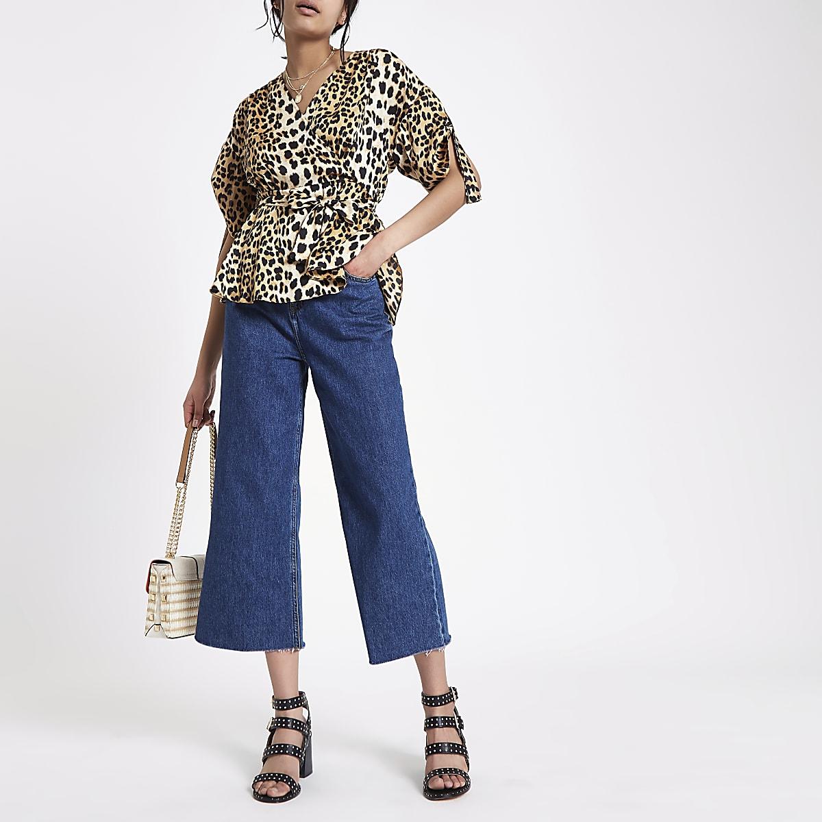 Alexa - Donkerblauwe cropped jeans met wijde pijpen