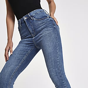 Mid blue Harper high waisted skinny jeans
