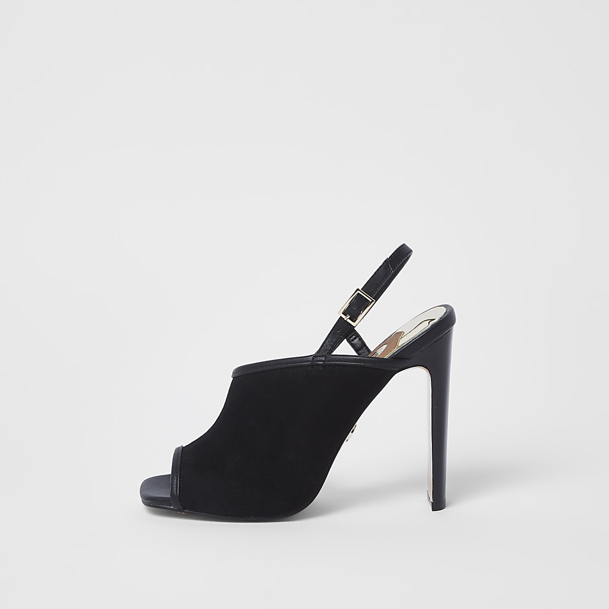 Black asymmetric slim heel shoes