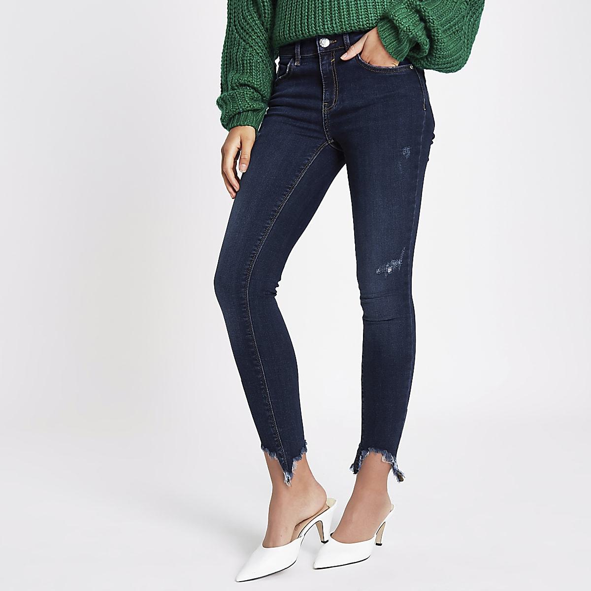 Amelie - Blauwe superskinny jeans met gerafelde zoom