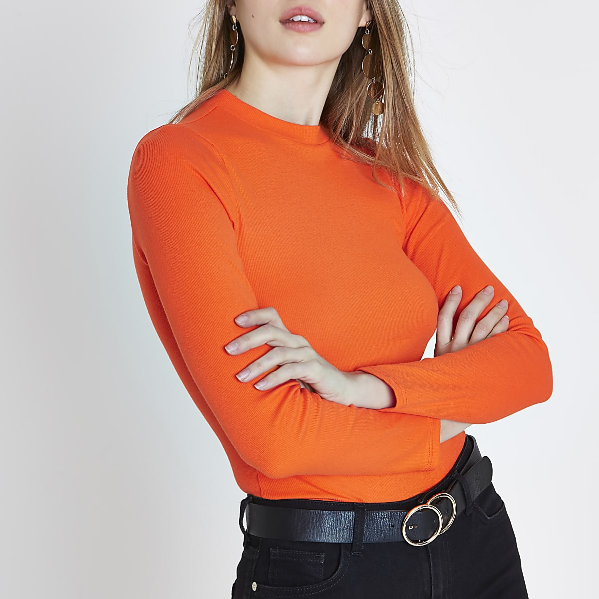 Orange rib high neck long sleeve top