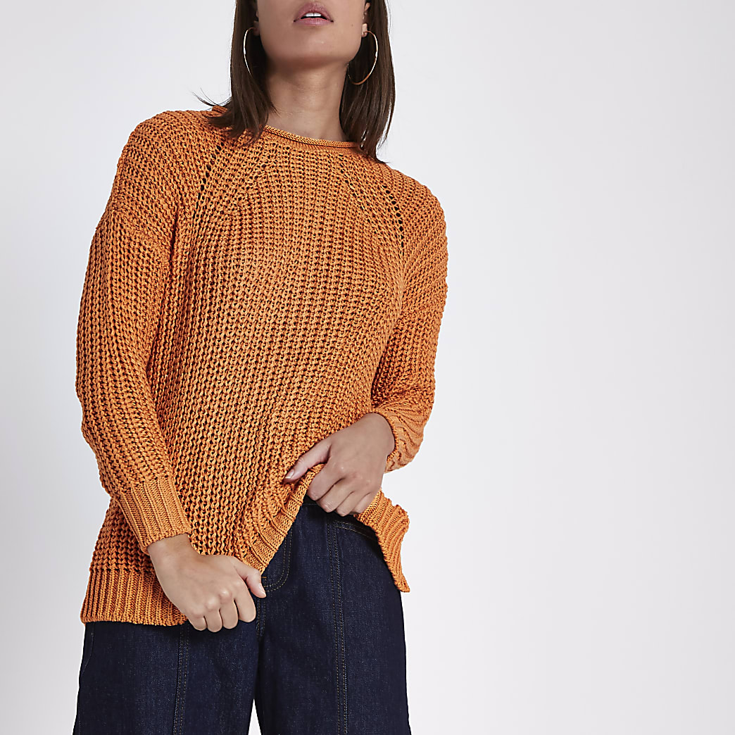 Orange rolled crew neck fisherman jumper