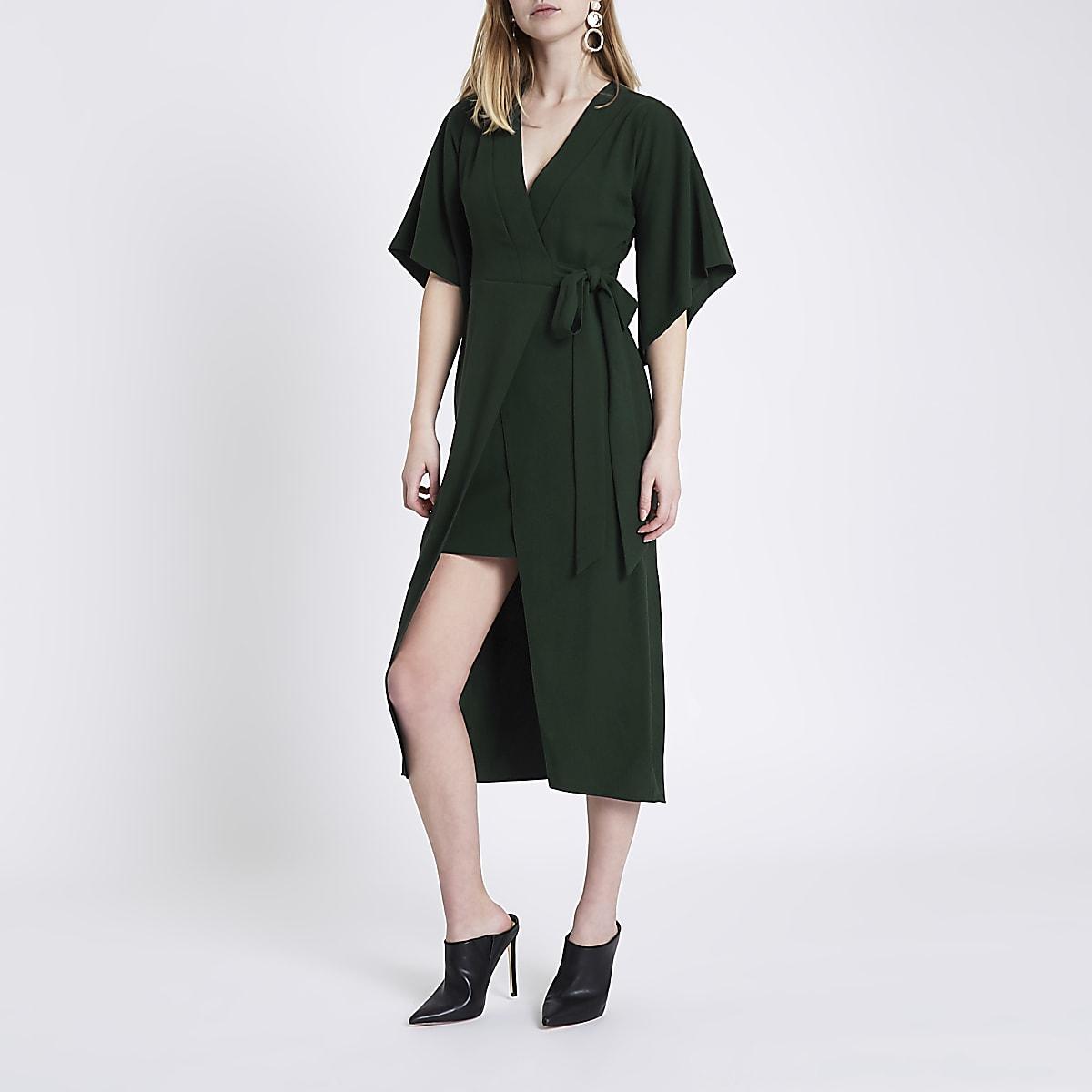 06bfd64cab2 Green wrap front kimono sleeve midi dress - Swing Dresses - Dresses - women