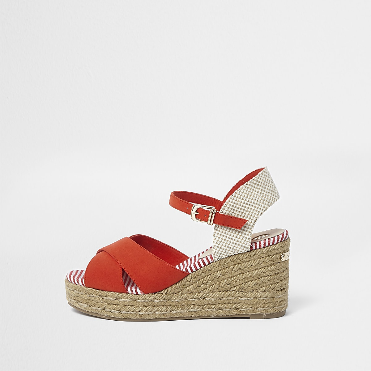 Red cross strap espadrille wedge sandals - Sandals - Shoes   Boots - women