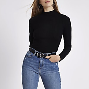 Black ribbed high neck fitted top