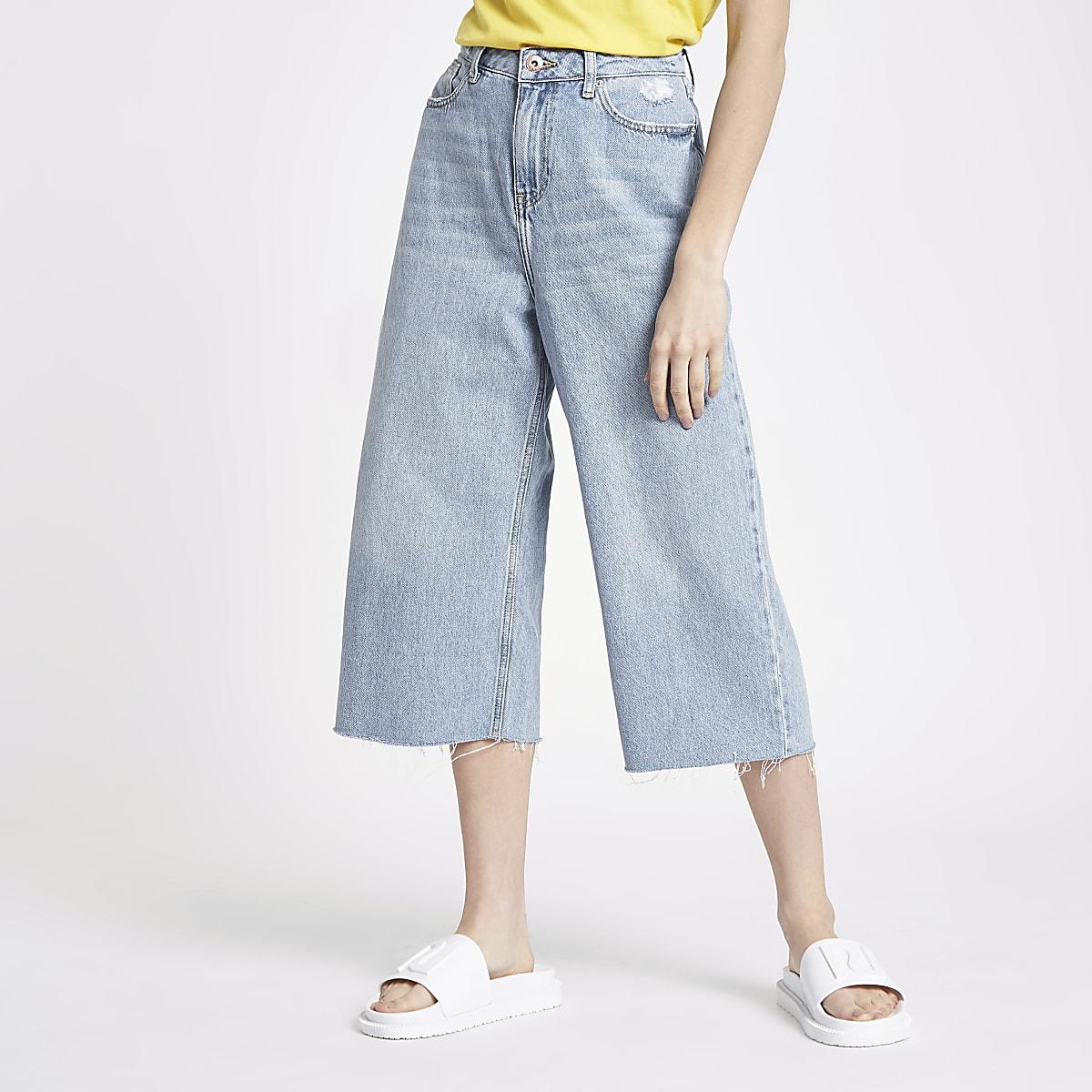 Petite light blue Alexa cropped wide leg jean