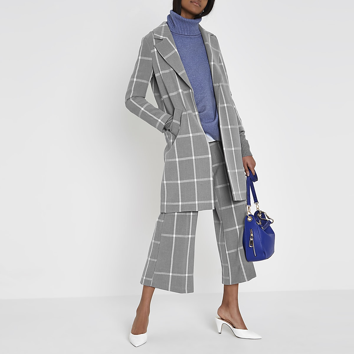 Grey check coat
