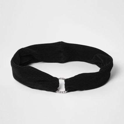 Black pleated diamante pave circle headband