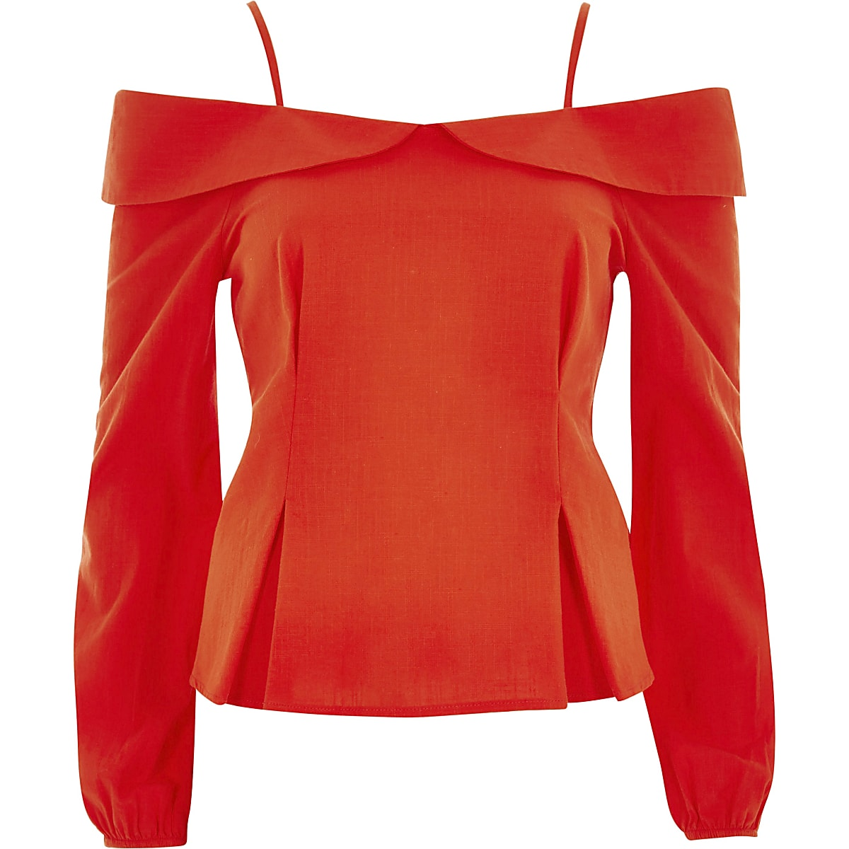 8bd93686b48b84 Red cold shoulder bow back top - Blouses - Tops - women