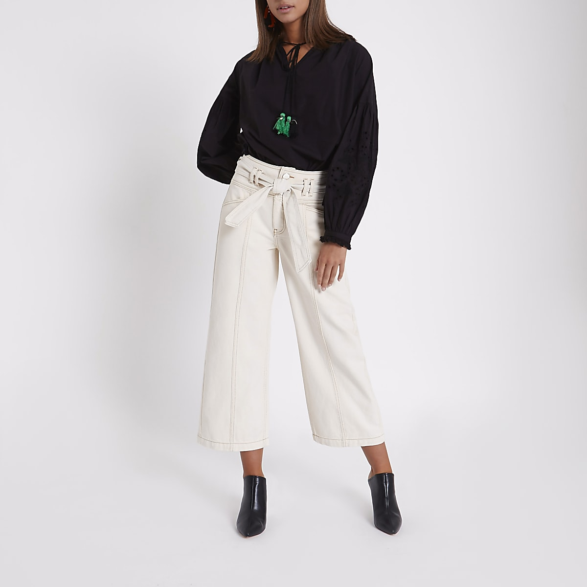 Cream belted cropped wide leg culotte jeans
