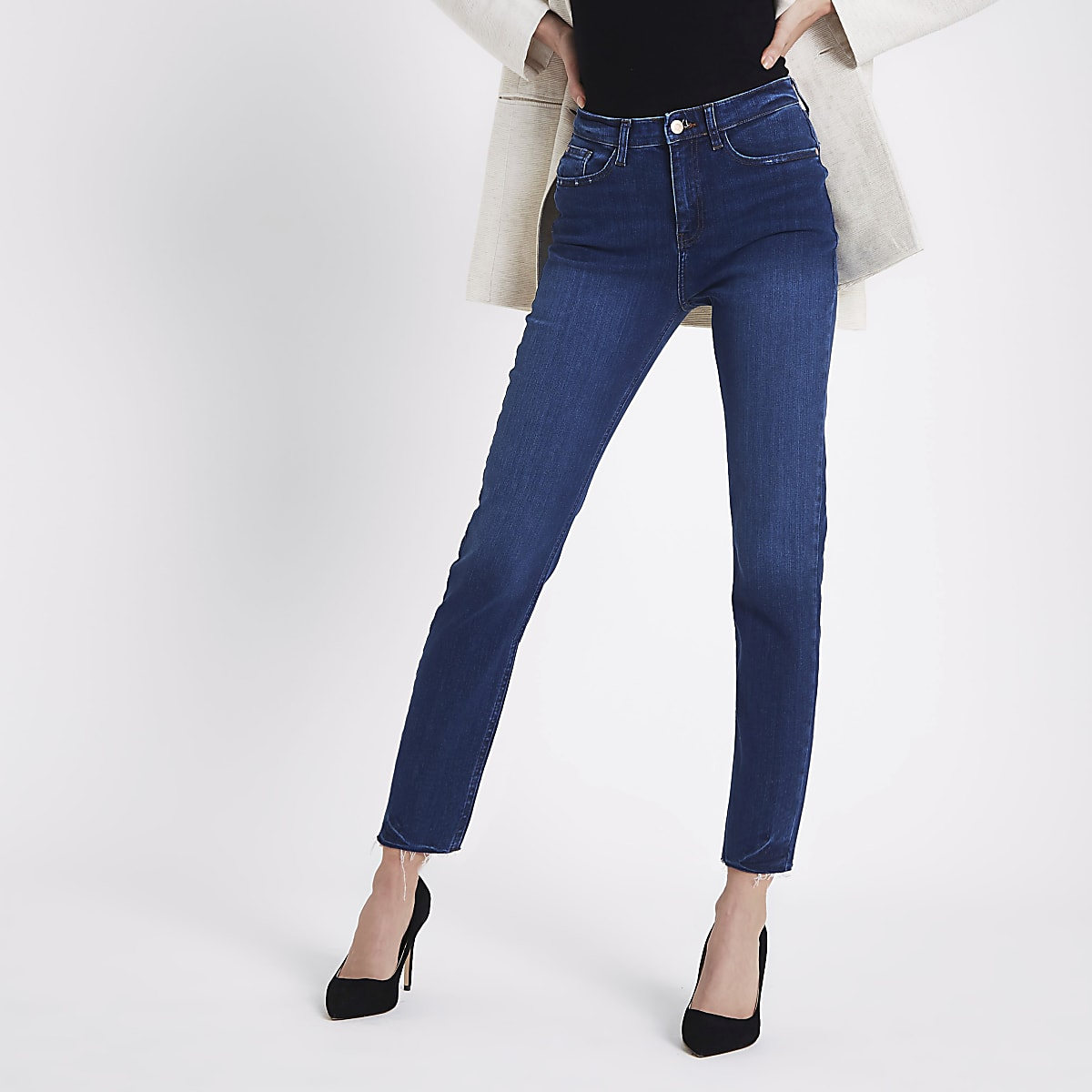 7dd5a9efaa446 Dark blue Casey raw hem slim fit jeans - Straight   Slim Jeans - Jeans -  women