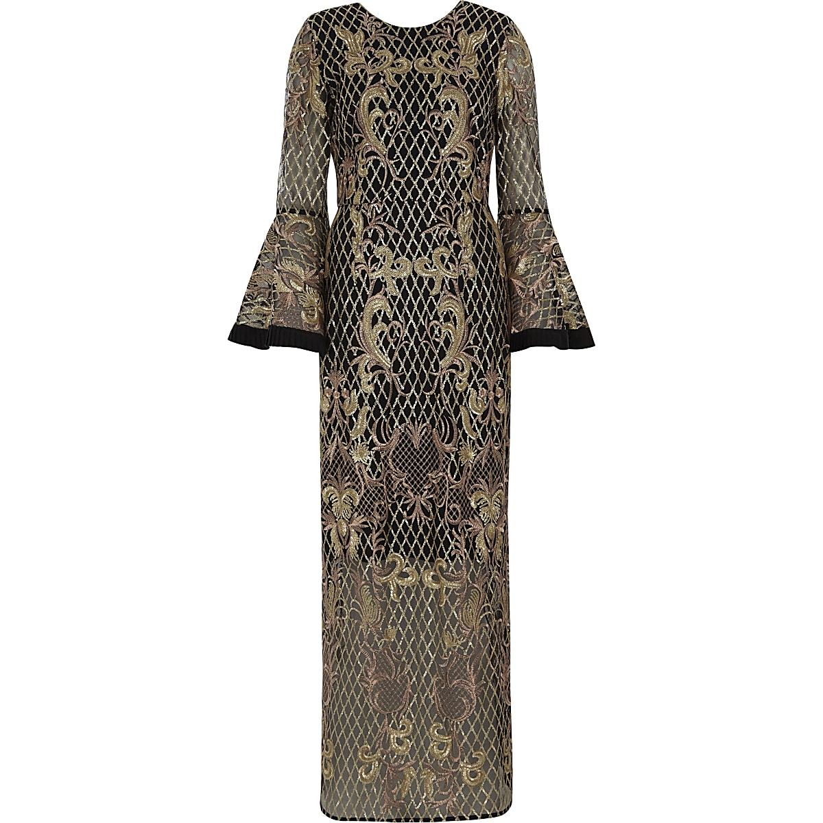 9220e2d950100 Black Sequin Mesh Maxi Dress