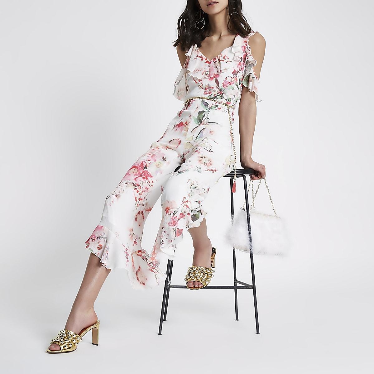 Cream frill cold shoulder floral jumpsuit