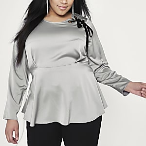 Plus silver lace-up shoulder peplum blouse