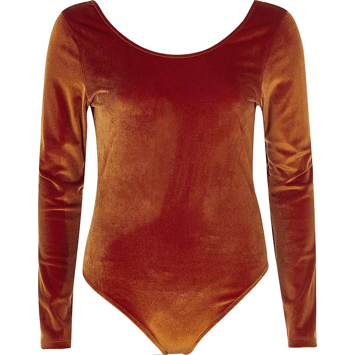 Orange velour long sleeve scoop neck bodysuit