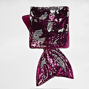 Pink reversible sequin mermaid blanket