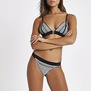 Black stripe saddle stitch bikini bottoms