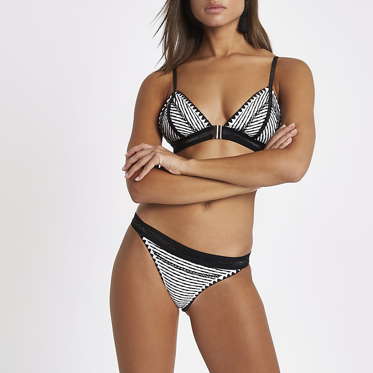 Black stripe saddle stitch bikini bottoms
