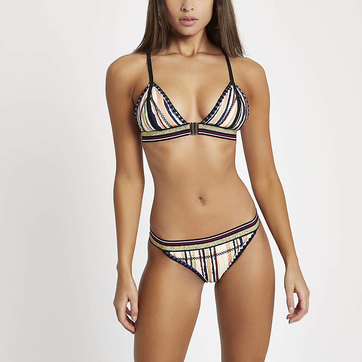 Crème gestreept bikinibroekje met festonsteek