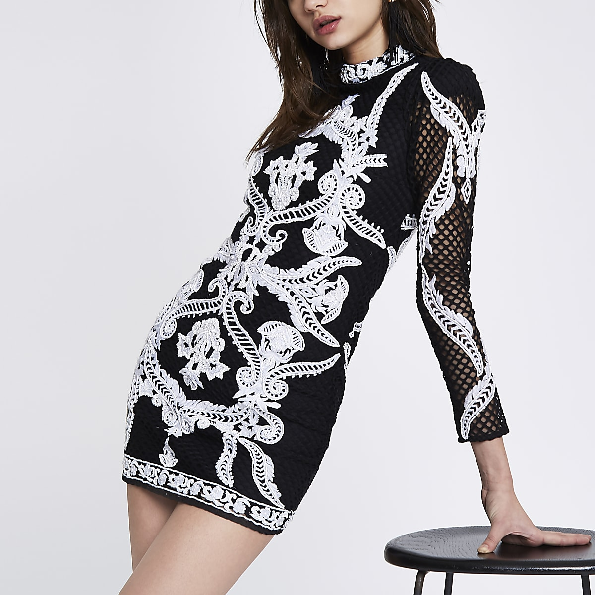 Black mesh embellished mini bodycon dress