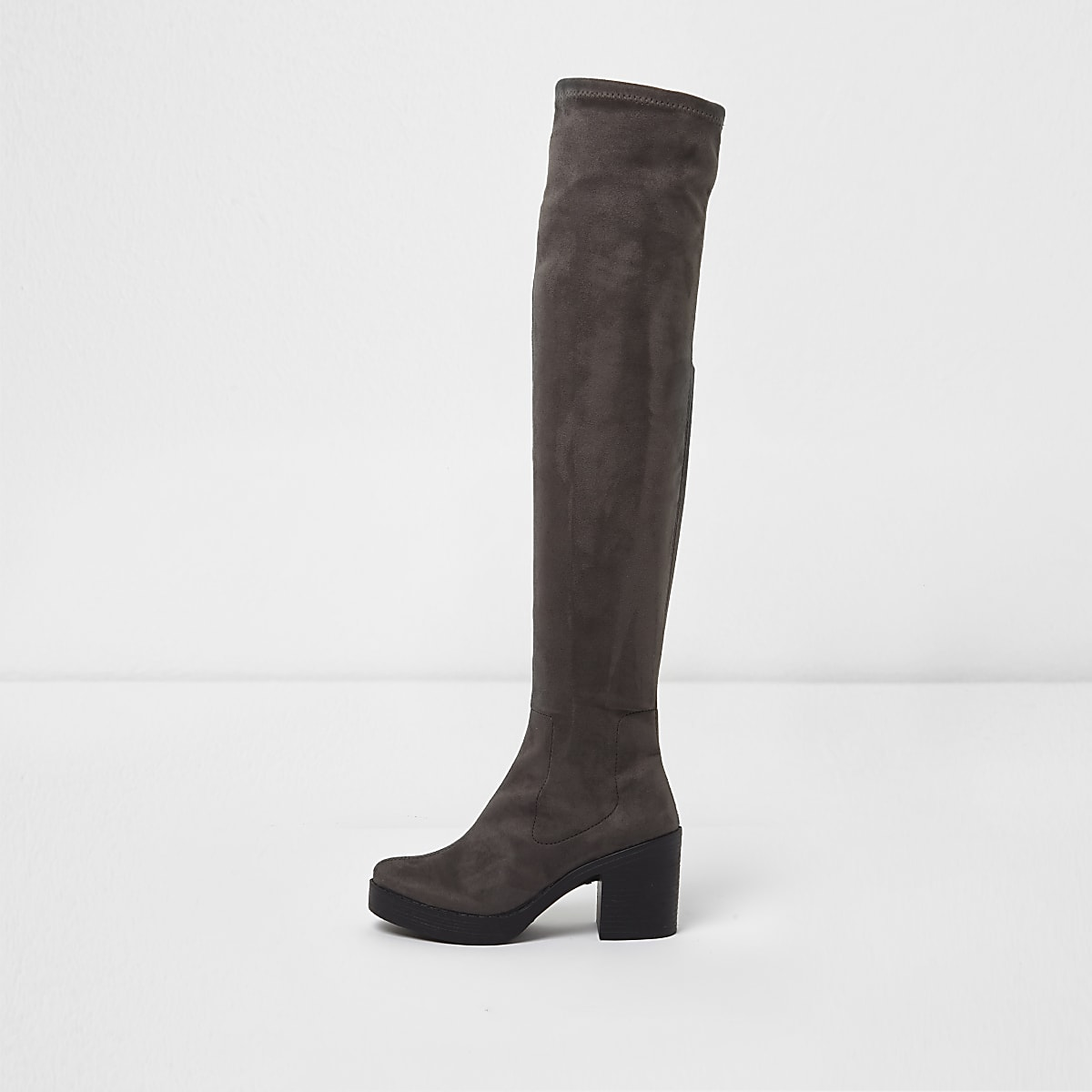 9ea879e288d Grey chunky sole over the knee boots