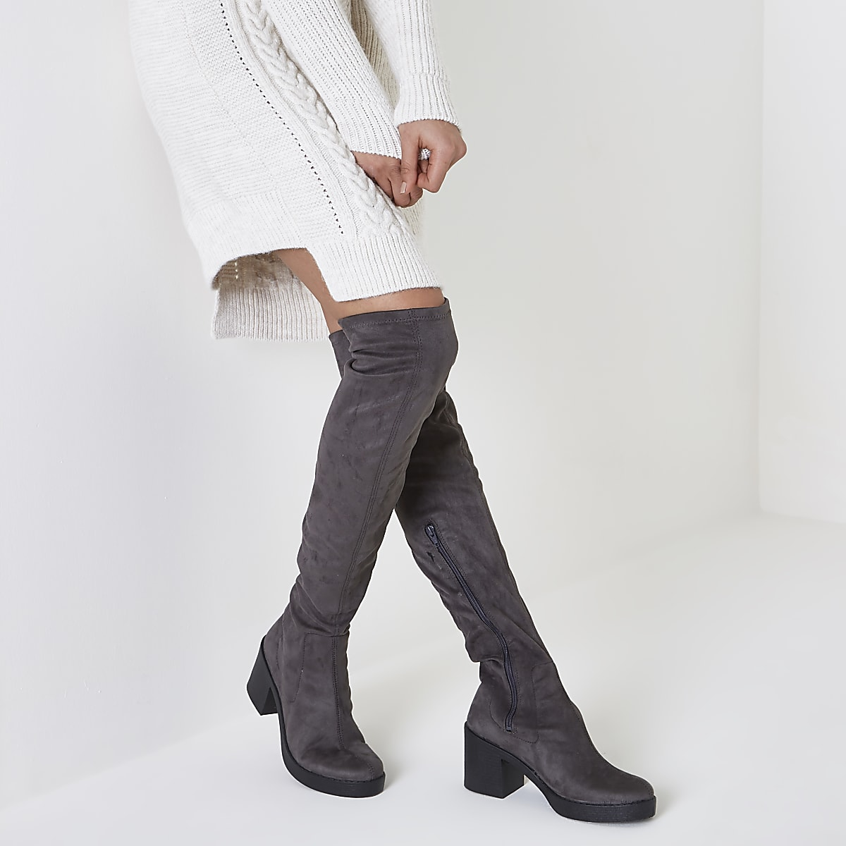 dd46932a9 Grey chunky sole over the knee boots - Boots - Shoes & Boots - women