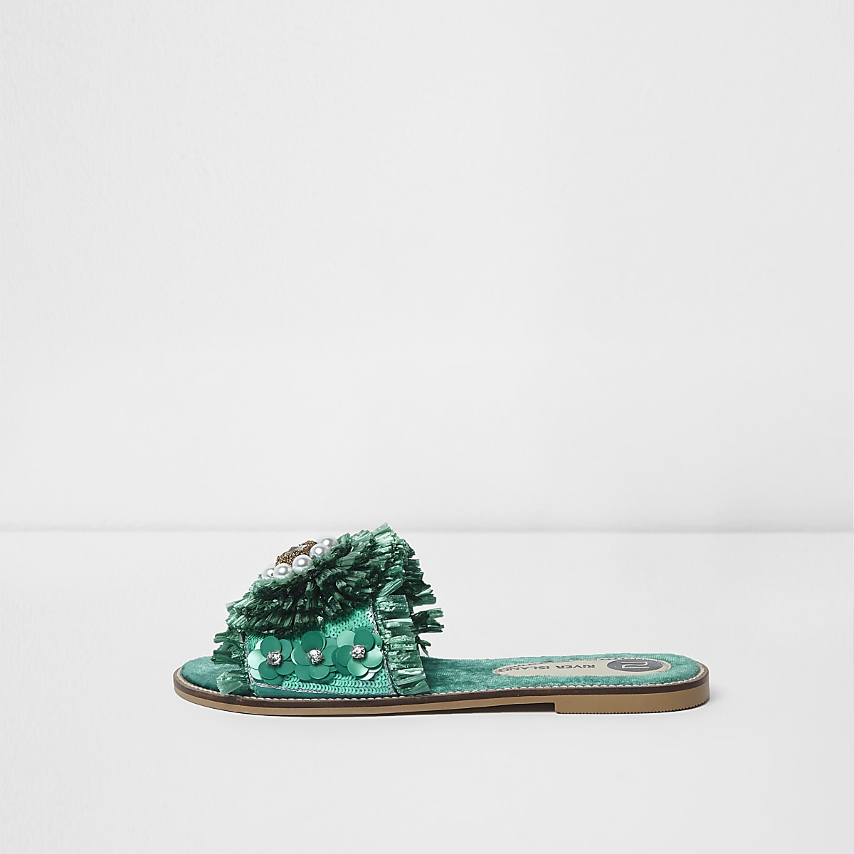 Green raffia flower embellished sandals